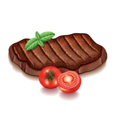 carne a la brasa: Carne a la brasa con verduras aislados en blanco fotorrealista ilustraci�n vectorial