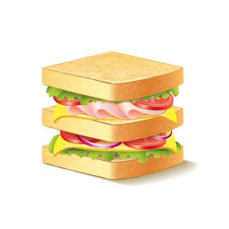 ham sandwich: Sandwich isolated on white photo-realistic vector illustration