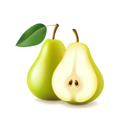 Pear and slice isolated on white photo-realistic vector illustration