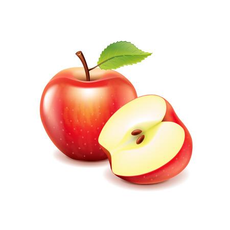 Rode appel en slice geïsoleerd op wit foto-realistische vector illustratie Stock Illustratie