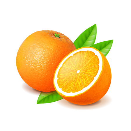 Orange and slice isolated on white photo-realistic vector illustration Stock Illustratie