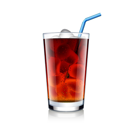 Cola glass with ice cubes isolated on white photo-realistic vector illustration Vectores