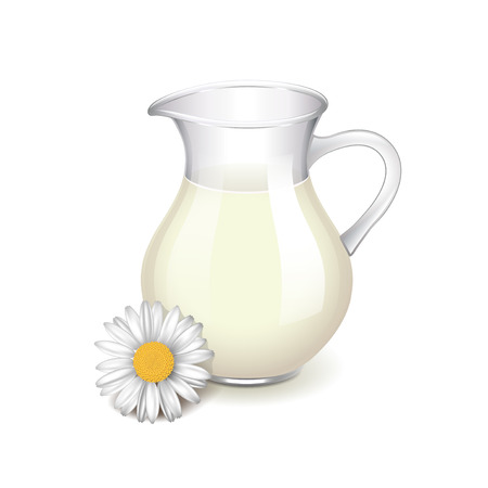 milk jug: Glass jug with milk, chamomile flower isolated photo-realistic vector illustration