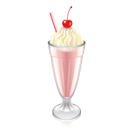 Milkshake with whipped cream and cherry photo-realistic vector