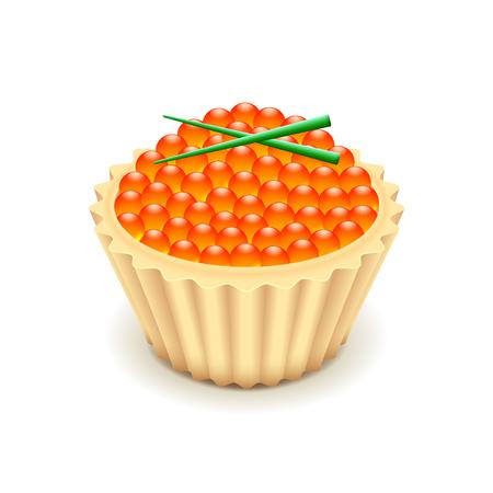 caviar: Red caviar isol� sur photo-r�aliste blanc illustration vectorielle Illustration