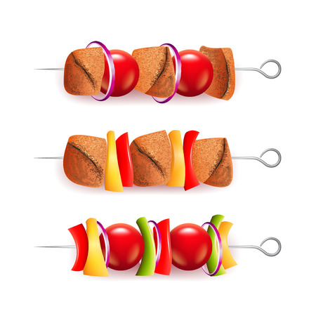 Skewers of different ingredients isolated on white photo-realistic vector illustration