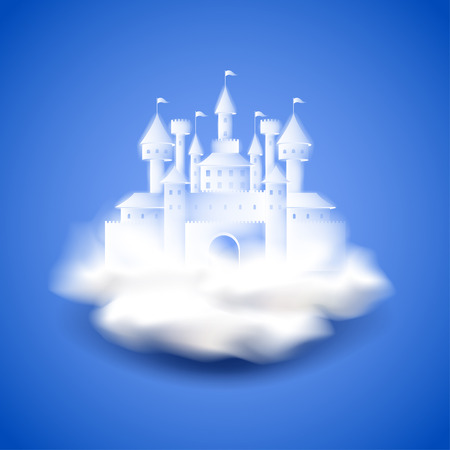 Air castle on blue photo realistic vector background Illustration