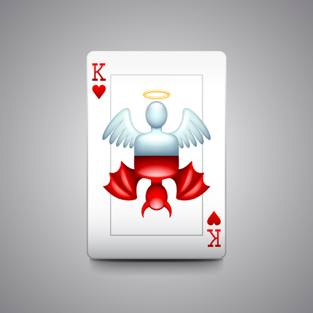 Angel and devil playing cards photo realistic vector illustration