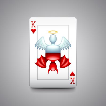 teufel und engel: Engel und Teufel Spielkarten Foto realistische Vektor-Illustration