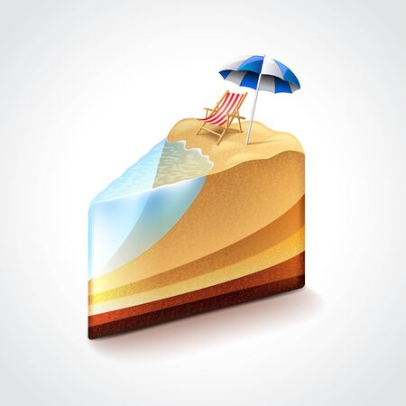 hot tour: Beach as cake, vacation or travel concept photo realistic vector illustration