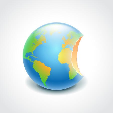 bitten: Globo mordido como la manzana, el medio ambiente concepto fotorrealista ilustraci�n vectorial Vectores