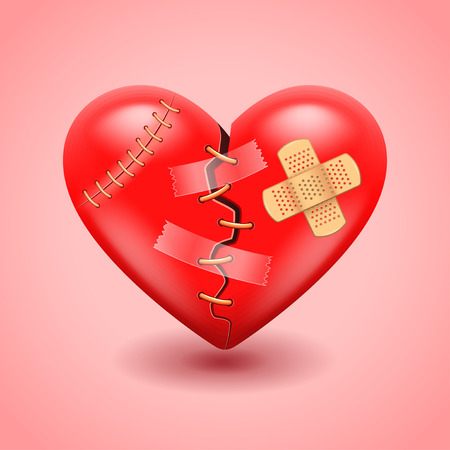 wounded heart: Big broken heart photo realistic vector background