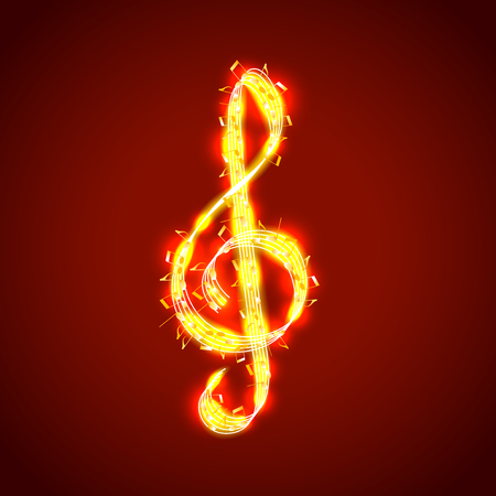 semiquaver: Treble clef of notes, musical photo realistic vector background