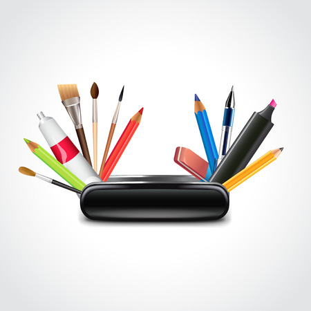 Swiss knife for designer, multifunctional art tools photo realistic vector illustration