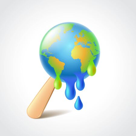global warming: Earth like melting ice cream, global warming concept photo realistic vector illustration