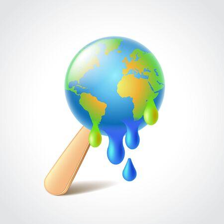 melting ice: Earth like melting ice cream, global warming concept photo realistic vector illustration