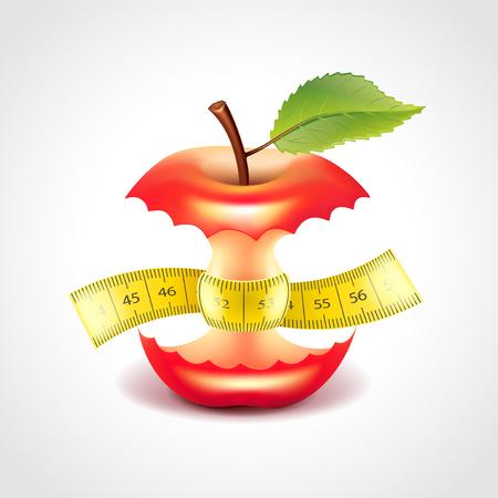 測定テープ、ダイエット コンセプト写真現実的なベクトル図のアップル スタブ