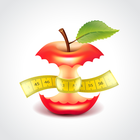 Apple stub with measuring tape, diet concept photo realistic vector illustration