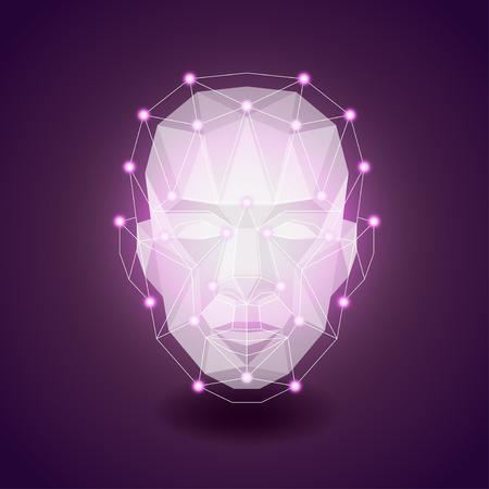 volti: Faccia poligonale scuro, concetto umano foto realistica vettore
