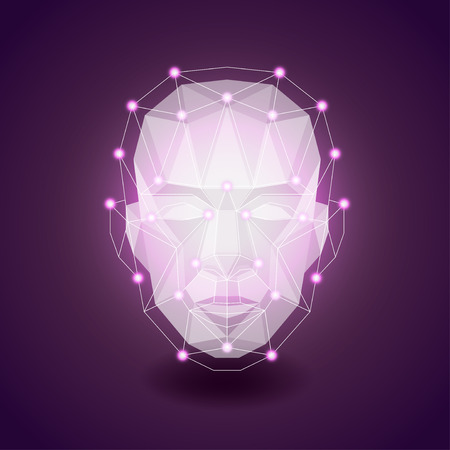 human head: Polygonal face on dark, human concept photo realistic vector background