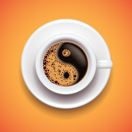 ying yan: Yin-yang coffe cup, relax concept photo realistic vector background