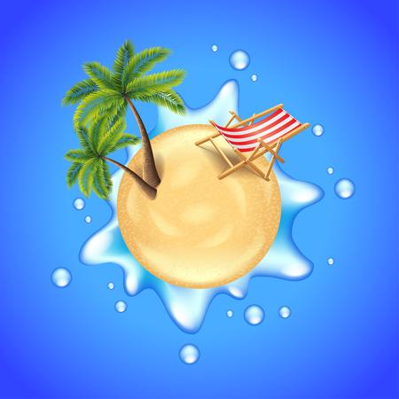 gran angular: Playa con palmeras, tumbona y salpicaduras de agua concepto de viaje vectorial