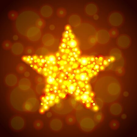 glowing star: Glowing star from golden bokeh photo realistic vector background