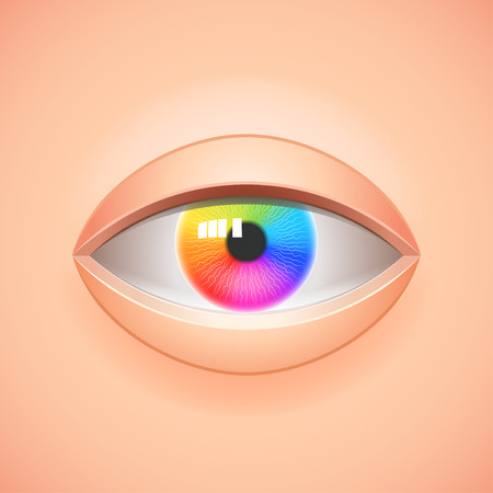 Human eye with multicolored rainbow iris vector background