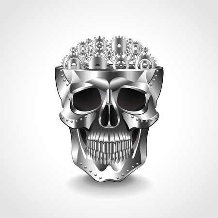 Metal skull, brain from gears photo realistic vector illustration Vector