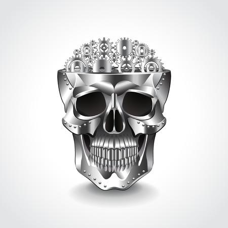 death metal: Metal skull, brain from gears photo realistic vector illustration