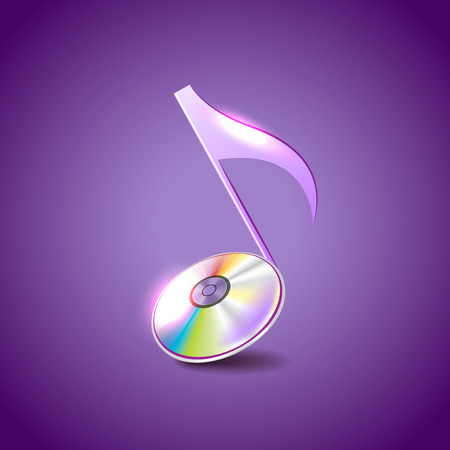 disc: Music note like compact disc photo realistic vector background