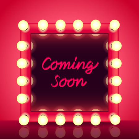 bright light: Coming soon concept with makeup mirror realistic vector background