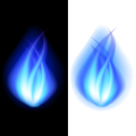 flamy: Blue fire on black and white photo realistic vector background Illustration