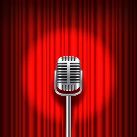 vocal: Red curtain and stage with microphone realistic vector background