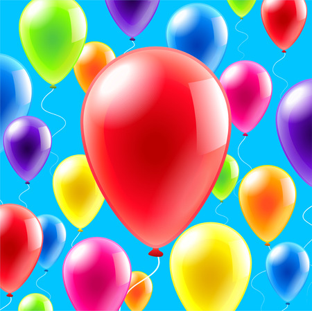 levitation: ?olorful balloons place for text realistic vector background