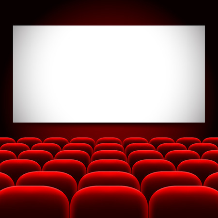 Cinema screen and red seats photo realistic vector background