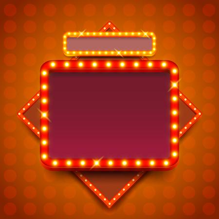 Retro poster met neonlichten vierkant bord vector achtergrond