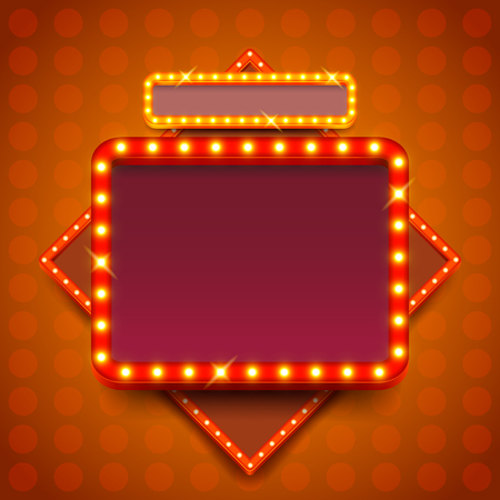 Retro poster with neon lights square board vector background