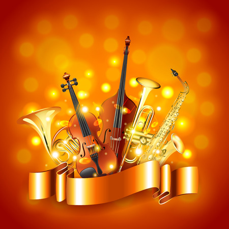 Musical instruments golden photo realistic vector background Stock Illustratie