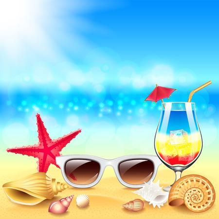 summer beach: Summer holidays beach photo realistic vector background Illustration