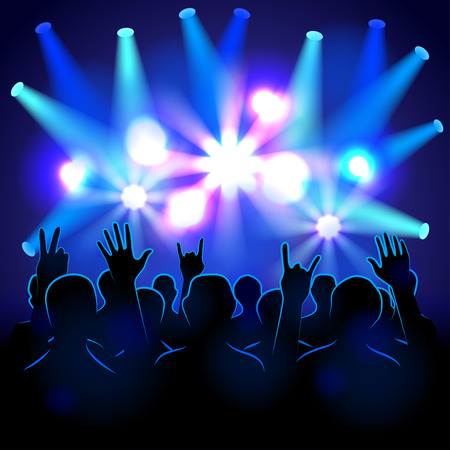 crowd happy people: Silhouettes and lights on musical concert vector background