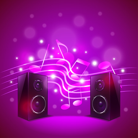 abstract music: Speakers on colorful blur background photo realistic vector Illustration