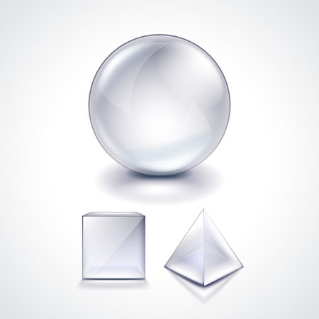 glass sphere: Glass sphere, cube and pyramid photo realistic vector illustration