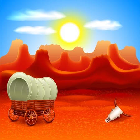 Paisaje salvaje oeste con carro viejo en las montañas de fondo vector