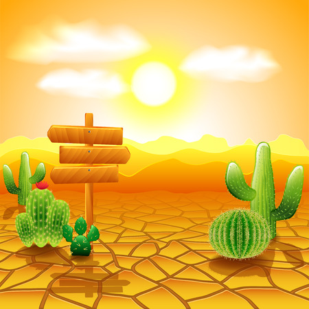 Desert landscape with wooden sign and cactuses vector background Stock Illustratie
