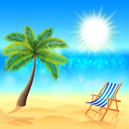 Palm and deck chair on sunny beach tropical vector background