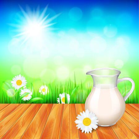 milk jug: Milk jug on wooden table, nature background photo realistic vector