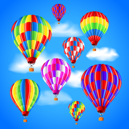 Hot air balloons in the sky photo realistic vector background Illustration