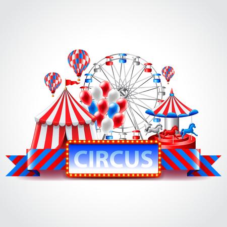 fun fair: Circus fun fair and carnival photo realistic vector background