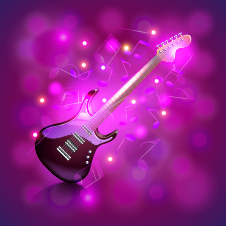 music instruments: Electric guitar on glowing background with notes photo realistic vector Illustration